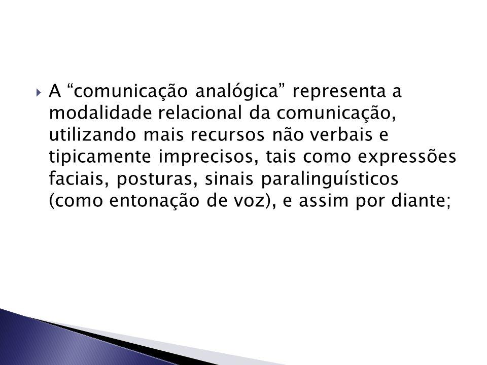 """ A """"comunicação analógica"""" representa a modalidade relacional da comunicação, utilizando mais recursos não verbais e tipicamente imprecisos, tais com"""