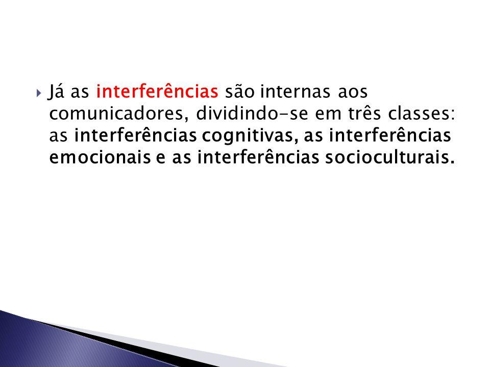 Já as interferências são internas aos comunicadores, dividindo-se em três classes: as interferências cognitivas, as interferências emocionais e as i