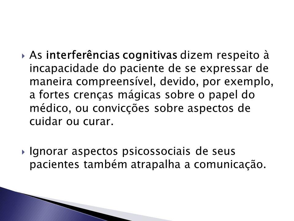 As interferências cognitivas dizem respeito à incapacidade do paciente de se expressar de maneira compreensível, devido, por exemplo, a fortes crenç