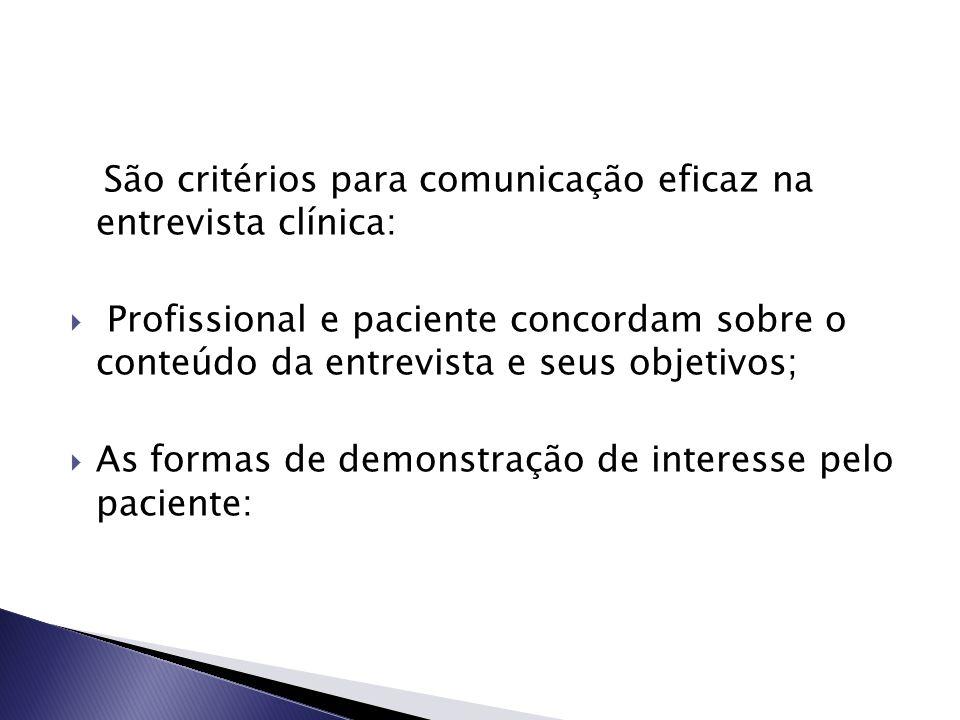 São critérios para comunicação eficaz na entrevista clínica:  Profissional e paciente concordam sobre o conteúdo da entrevista e seus objetivos;  As