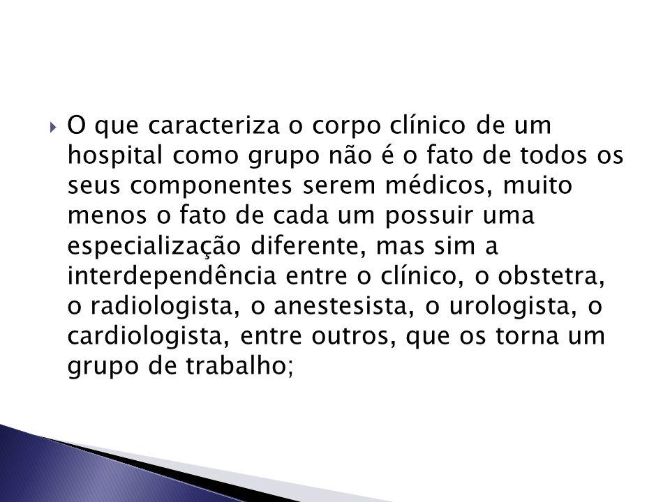  O que caracteriza o corpo clínico de um hospital como grupo não é o fato de todos os seus componentes serem médicos, muito menos o fato de cada um p