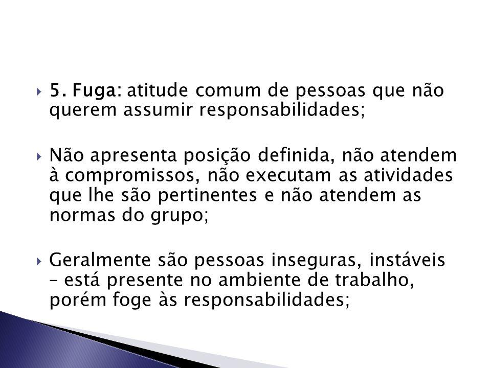  5. Fuga: atitude comum de pessoas que não querem assumir responsabilidades;  Não apresenta posição definida, não atendem à compromissos, não execut