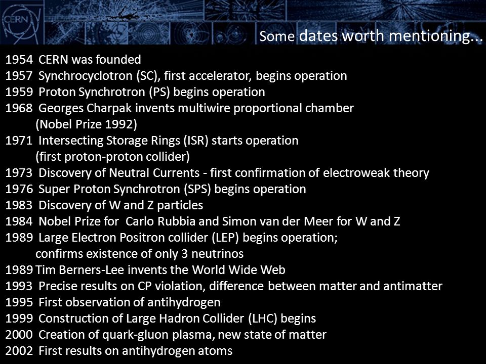 Some dates worth mentioning... 1954 CERN was founded 1957 Synchrocyclotron (SC), first accelerator, begins operation 1959 Proton Synchrotron (PS) begi