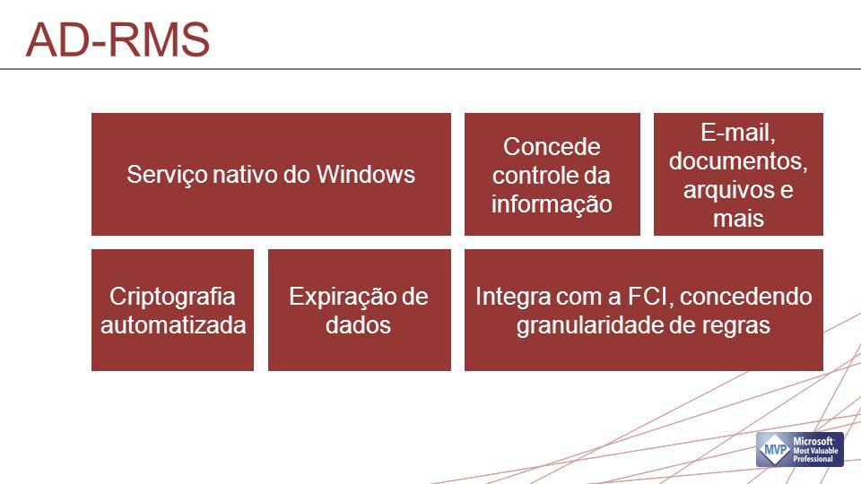 Serviço nativo do Windows Integra com a FCI, concedendo granularidade de regras Concede controle da informação E-mail, documentos, arquivos e mais Criptografia automatizada Expiração de dados