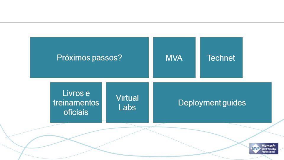 Próximos passos? Deployment guides MVATechnet Livros e treinamentos oficiais Virtual Labs