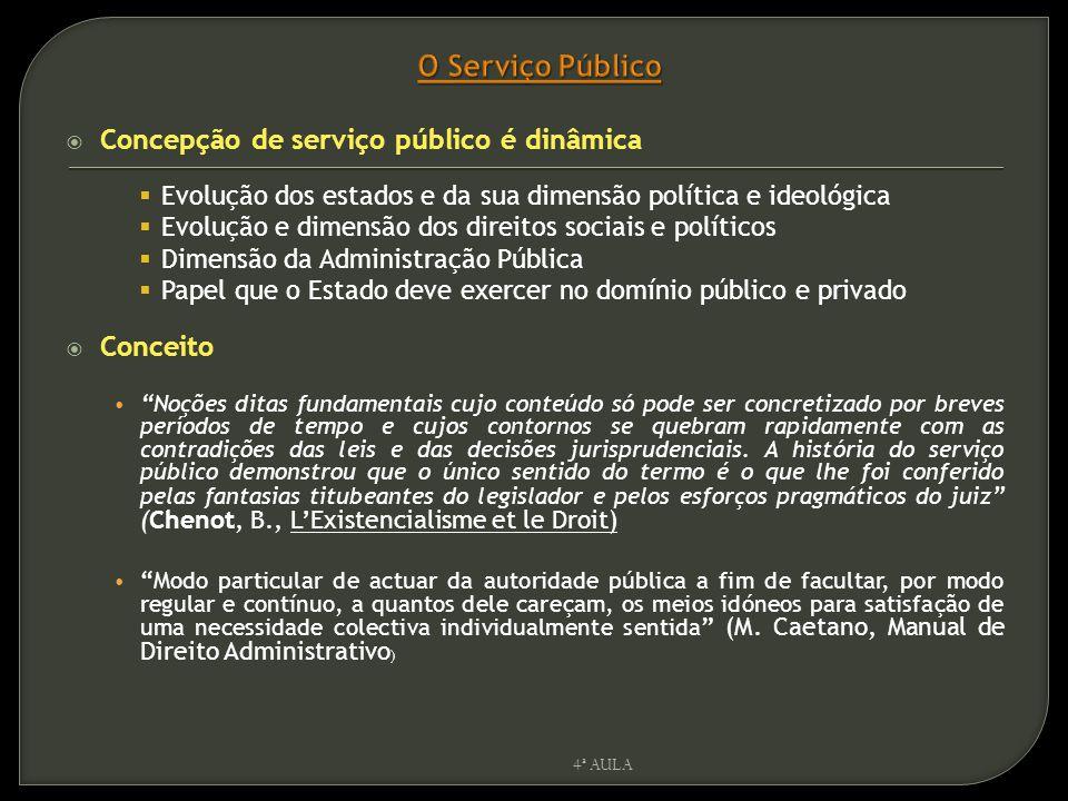  Concepção de serviço público é dinâmica  Evolução dos estados e da sua dimensão política e ideológica  Evolução e dimensão dos direitos sociais e