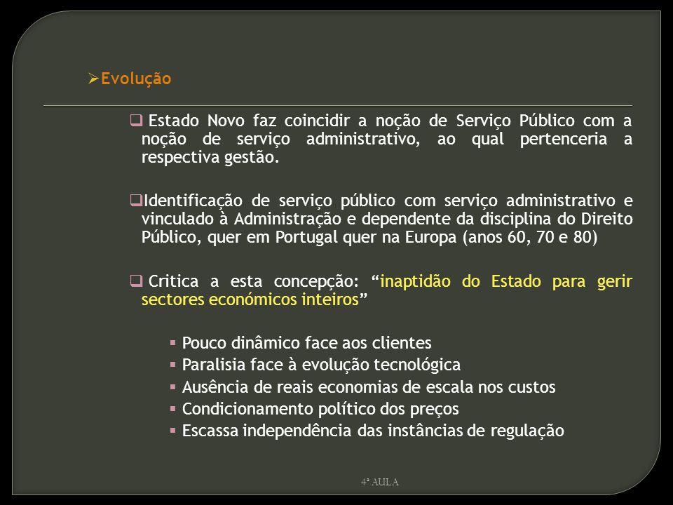 4ª AULA  Evolução  Estado Novo faz coincidir a noção de Serviço Público com a noção de serviço administrativo, ao qual pertenceria a respectiva gest
