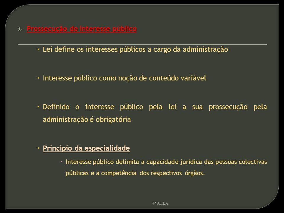  Prossecução do interesse público  Lei define os interesses públicos a cargo da administração  Interesse público como noção de conteúdo variável 