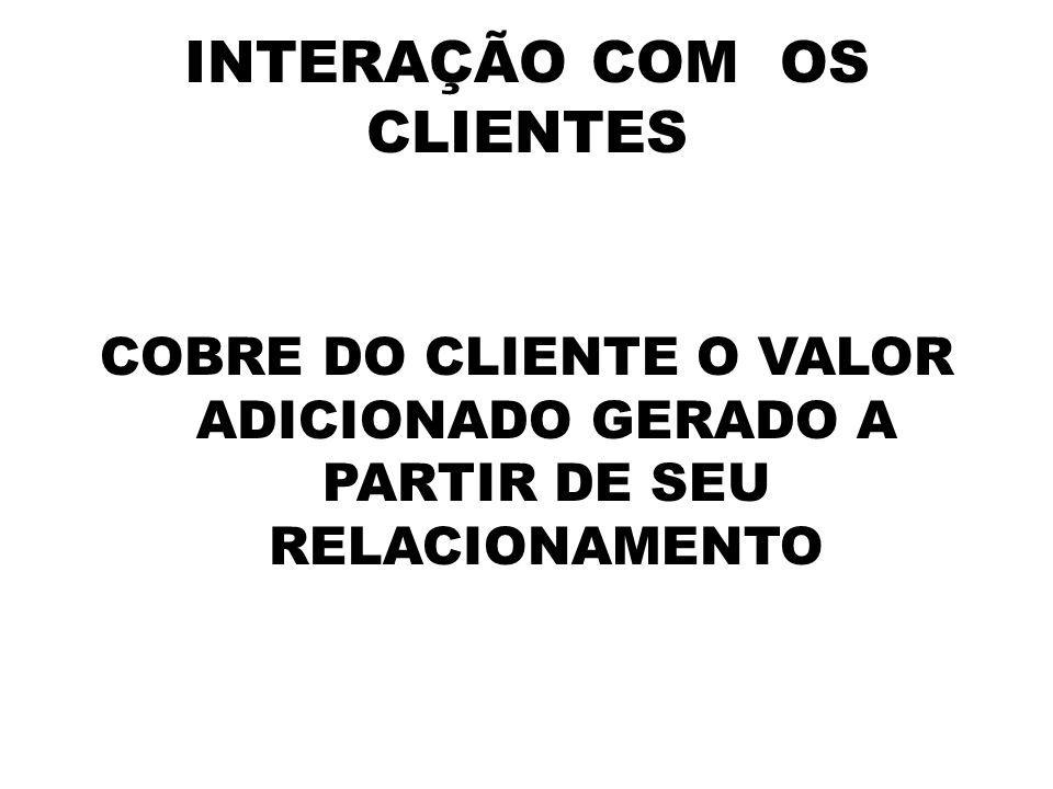 INTERAÇÃO COM OS CLIENTES COBRE DO CLIENTE O VALOR ADICIONADO GERADO A PARTIR DE SEU RELACIONAMENTO