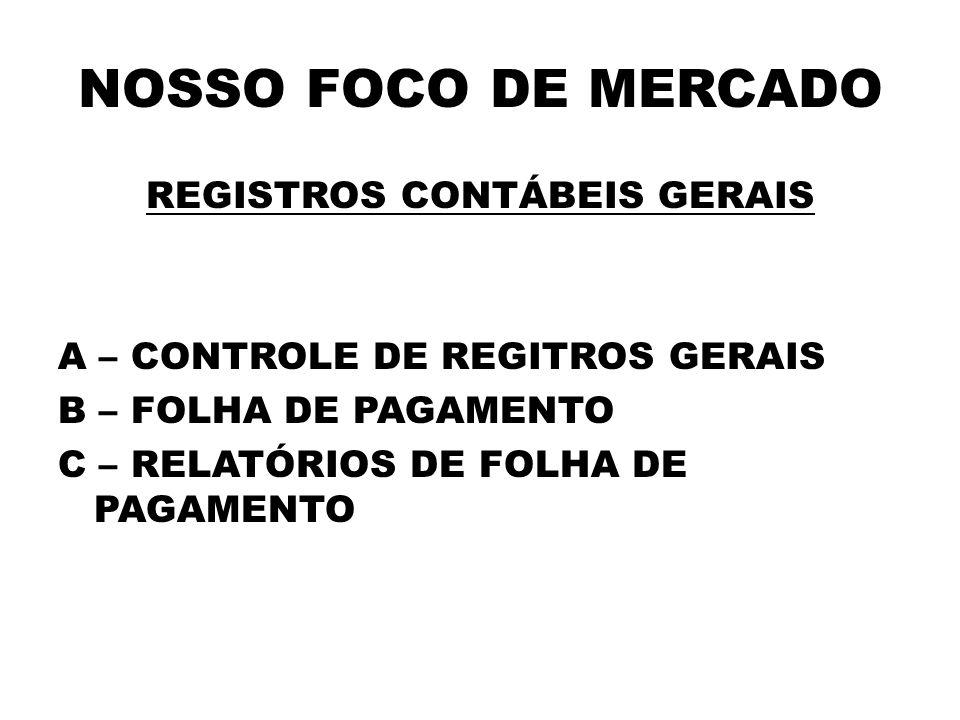NOSSO FOCO DE MERCADO REGISTROS CONTÁBEIS GERAIS A – CONTROLE DE REGITROS GERAIS B – FOLHA DE PAGAMENTO C – RELATÓRIOS DE FOLHA DE PAGAMENTO
