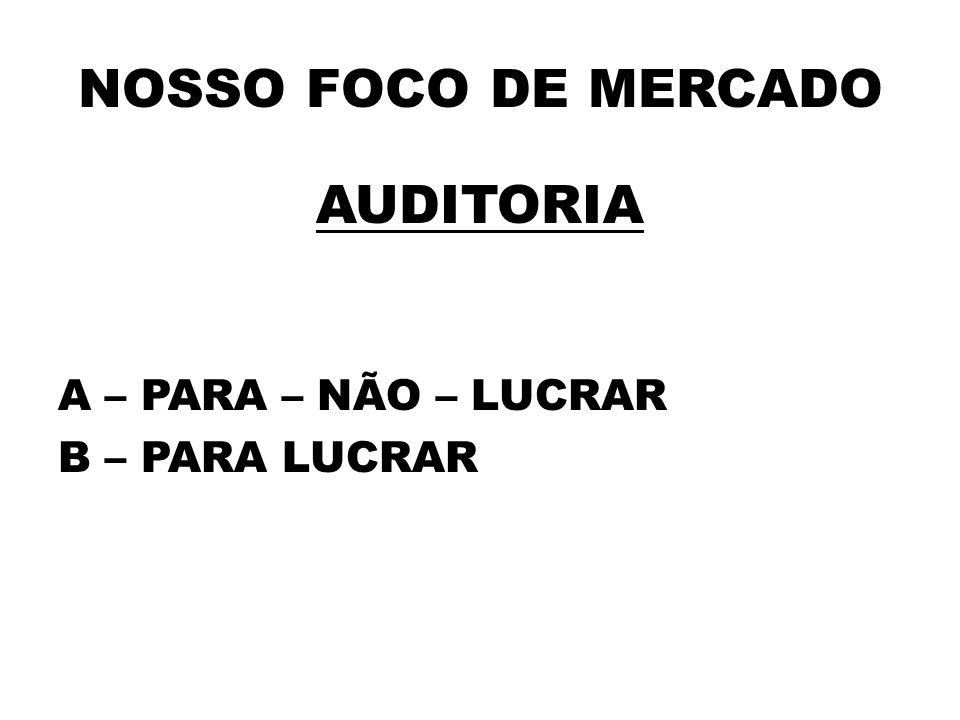 NOSSO FOCO DE MERCADO AUDITORIA A – PARA – NÃO – LUCRAR B – PARA LUCRAR