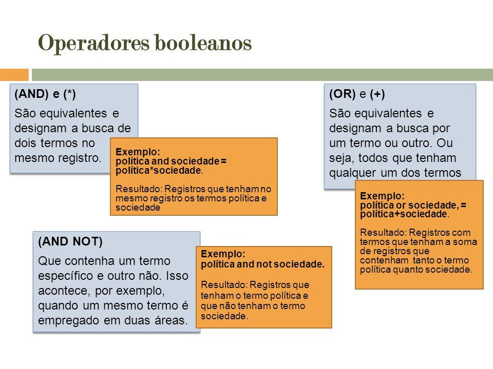 Operadores booleanos Exemplo: política and sociedade = política*sociedade. Resultado: Registros que tenham no mesmo registro os termos política e soci
