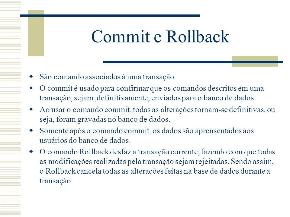 Commit e Rollback  São comando associados à uma transação.  O commit é usado para confirmar que os comandos descritos em uma transação, sejam,defini