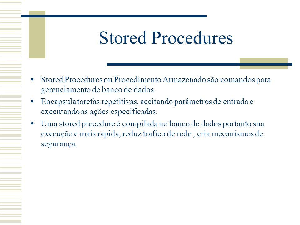 Stored Procedures  Stored Procedures ou Procedimento Armazenado são comandos para gerenciamento de banco de dados.  Encapsula tarefas repetitivas, a