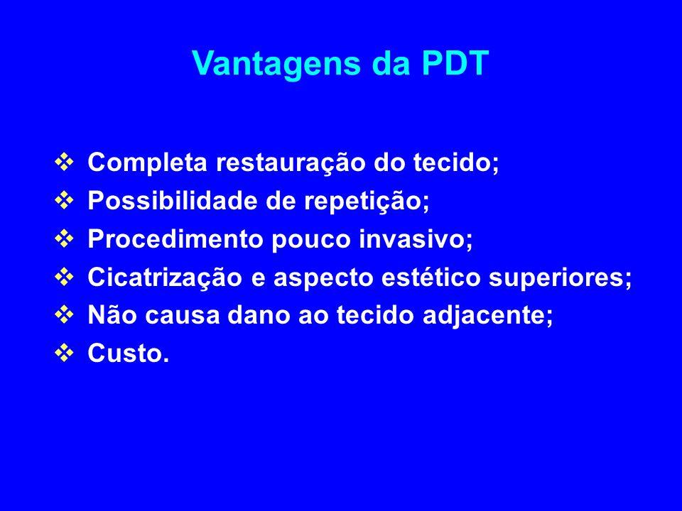 Vantagens da PDT  Completa restauração do tecido;  Possibilidade de repetição;  Procedimento pouco invasivo;  Cicatrização e aspecto estético superiores;  Não causa dano ao tecido adjacente;  Custo.