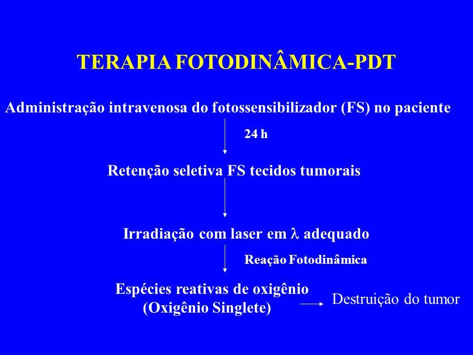 TERAPIA FOTODINÂMICA-PDT Administração intravenosa do fotossensibilizador (FS) no paciente Retenção seletiva FS tecidos tumorais 24 h Irradiação com laser em adequado Reação Fotodinâmica Espécies reativas de oxigênio (Oxigênio Singlete) Destruição do tumor