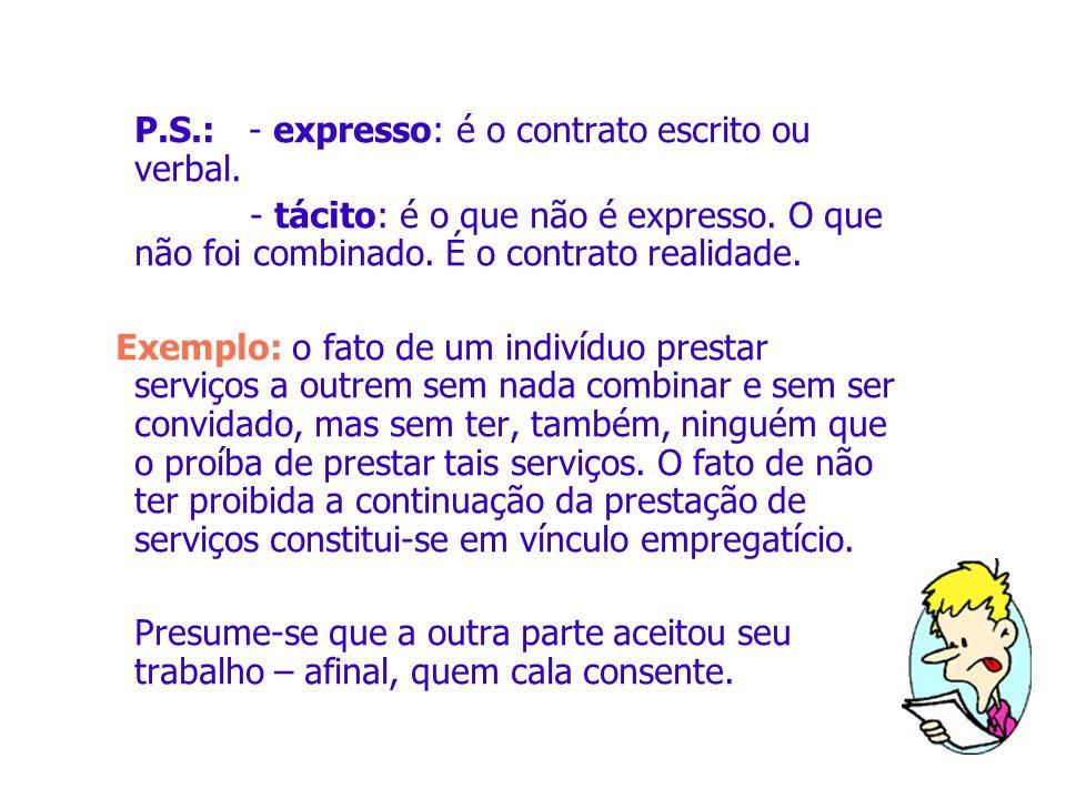 P.S.: - expresso: é o contrato escrito ou verbal. - tácito: é o que não é expresso. O que não foi combinado. É o contrato realidade. Exemplo: o fato d