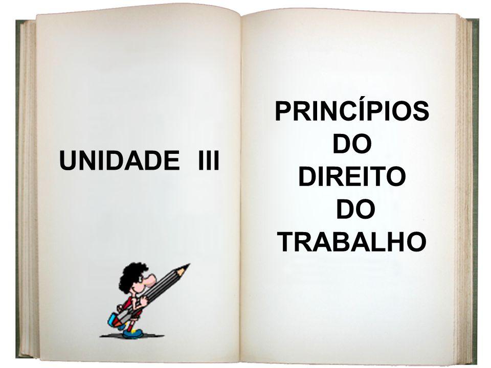 UNIDADE III PRINCÍPIOS DO DIREITO DO TRABALHO