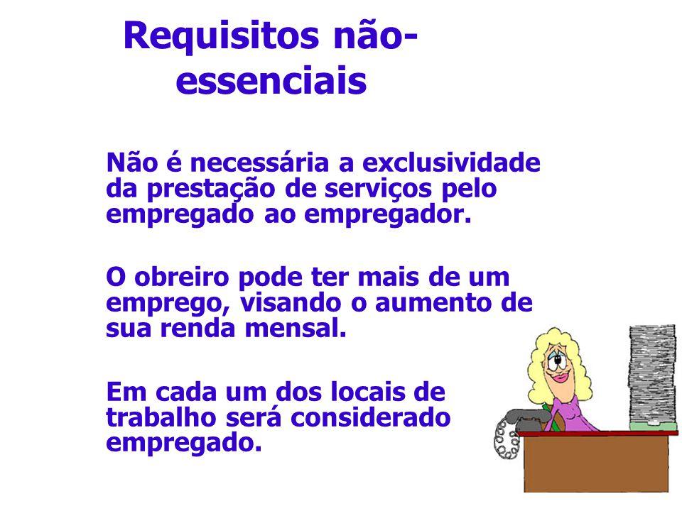 Requisitos não- essenciais Não é necessária a exclusividade da prestação de serviços pelo empregado ao empregador. O obreiro pode ter mais de um empre