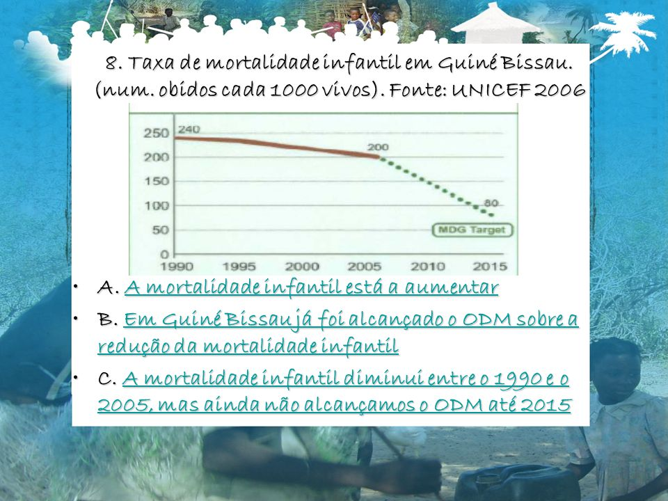 8.Taxa de mortalidade infantil em Guiné Bissau. (num.