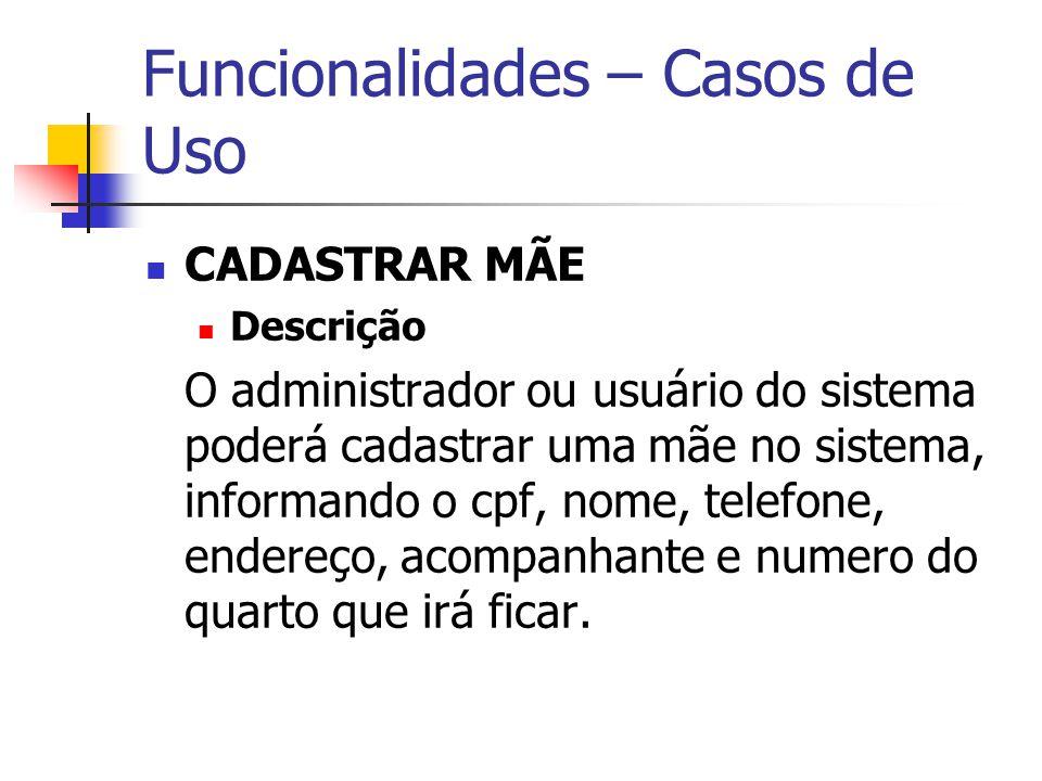 Funcionalidades – Casos de Uso CADASTRAR MÃE Descrição O administrador ou usuário do sistema poderá cadastrar uma mãe no sistema, informando o cpf, no
