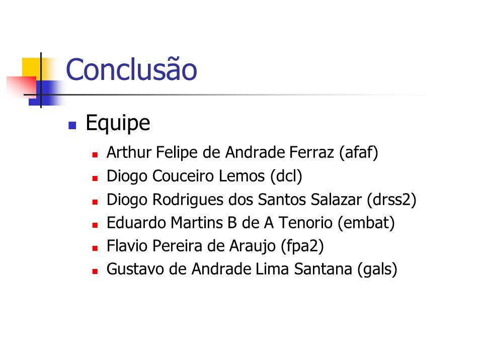 Conclusão Equipe Arthur Felipe de Andrade Ferraz (afaf) Diogo Couceiro Lemos (dcl) Diogo Rodrigues dos Santos Salazar (drss2) Eduardo Martins B de A T