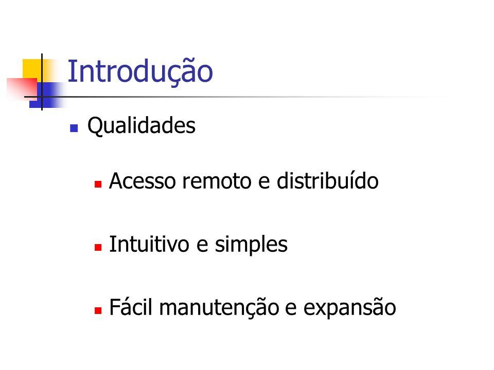 Introdução Qualidades Acesso remoto e distribuído Intuitivo e simples Fácil manutenção e expansão