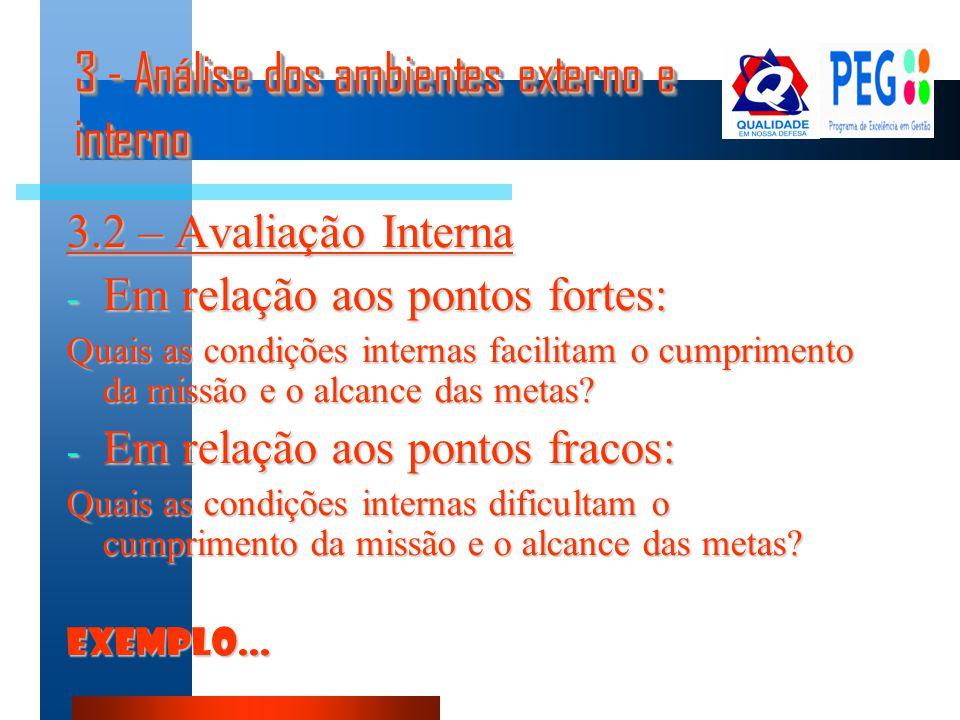 3 - Análise dos ambientes externo e interno 3.2 – Avaliação Interna - Em relação aos pontos fortes: Quais as condições internas facilitam o cumpriment