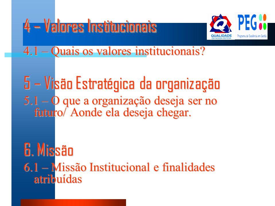 4 – Valores Institucionais 4.1 – Quais os valores institucionais? 5 – Visão Estratégica da organização 5.1 – O que a organização deseja ser no futuro/