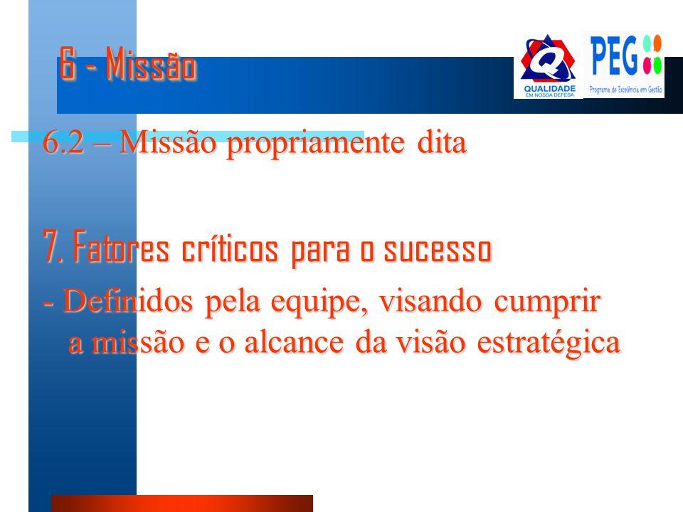 6 - Missão 6.2 – Missão propriamente dita 7. Fatores críticos para o sucesso - Definidos pela equipe, visando cumprir a missão e o alcance da visão es