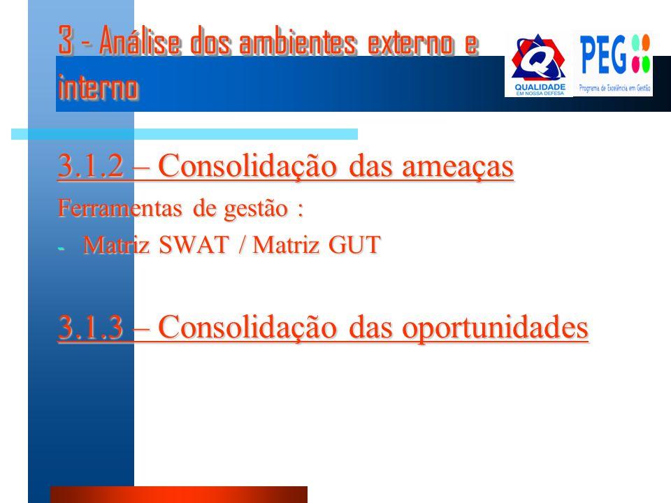 3 - Análise dos ambientes externo e interno 3.1.2 – Consolidação das ameaças Ferramentas de gestão : - Matriz SWAT / Matriz GUT 3.1.3 – Consolidação d
