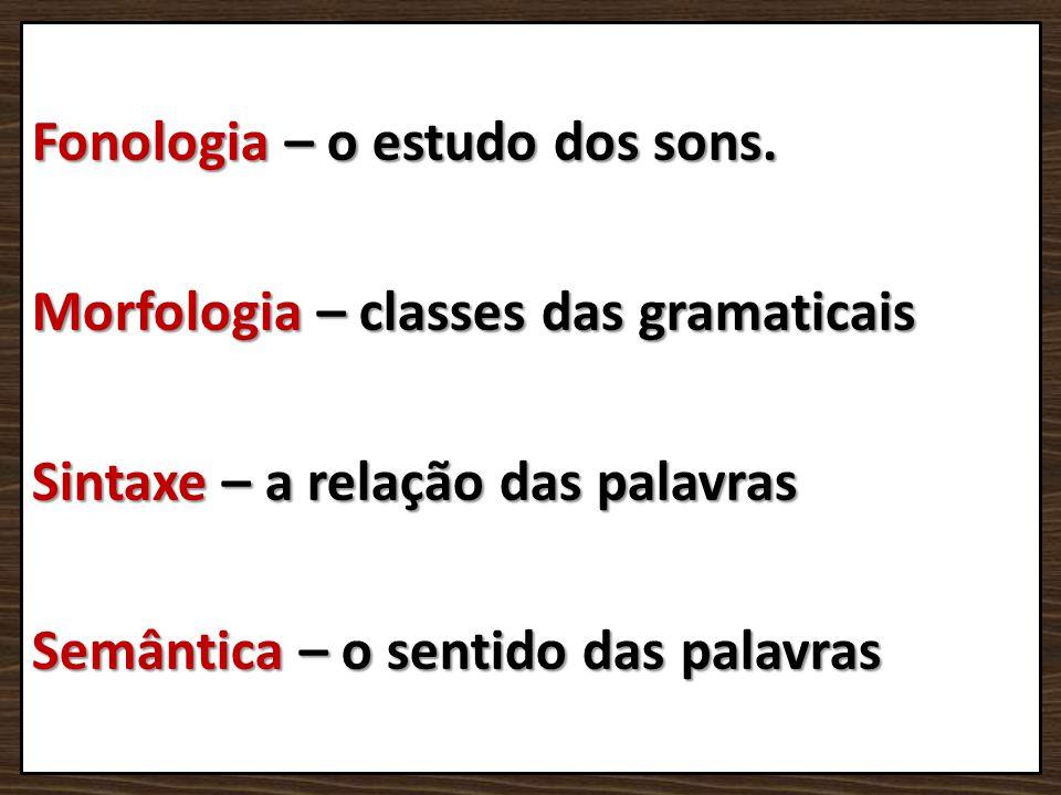 Fonologia – o estudo dos sons. Morfologia – classes das gramaticais Sintaxe – a relação das palavras Semântica – o sentido das palavras
