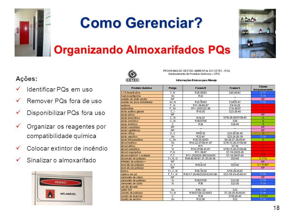 Como Gerenciar? Organizando Almoxarifados PQs 18 Ações: Identificar PQs em uso Remover PQs fora de uso Disponibilizar PQs fora uso Organizar os reagen
