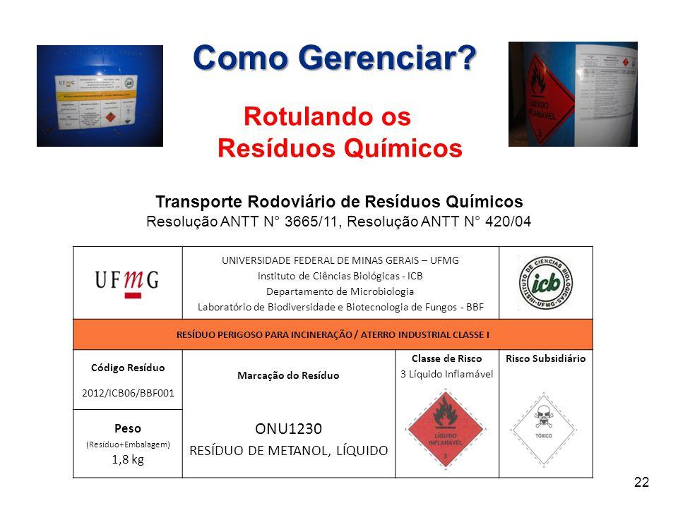 Transporte Rodoviário de Resíduos Químicos Resolução ANTT N° 3665/11, Resolução ANTT N° 420/04 UNIVERSIDADE FEDERAL DE MINAS GERAIS – UFMG Instituto d