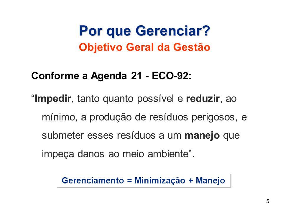 """Conforme a Agenda 21 - ECO-92: """"Impedir, tanto quanto possível e reduzir, ao mínimo, a produção de resíduos perigosos, e submeter esses resíduos a um"""