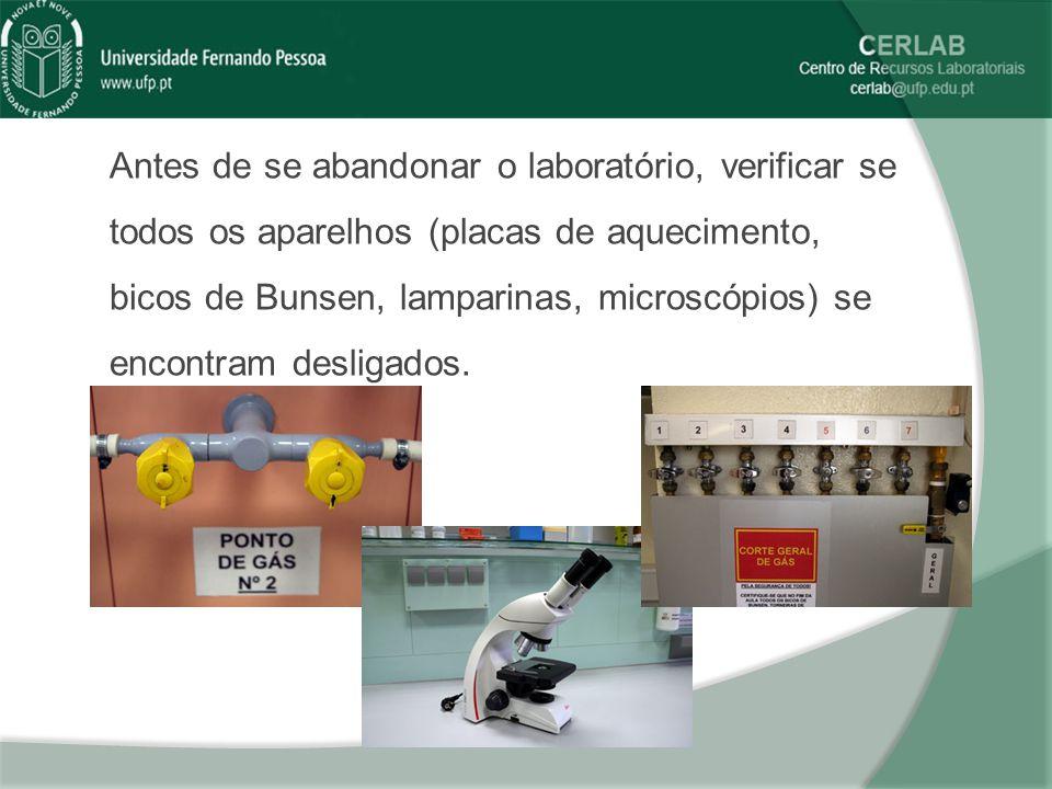 Antes de se abandonar o laboratório, verificar se todos os aparelhos (placas de aquecimento, bicos de Bunsen, lamparinas, microscópios) se encontram d