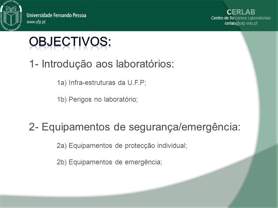 A consciencialização por parte de todos os utentes dos perigos inerentes ao uso dos laboratórios é fundamental.