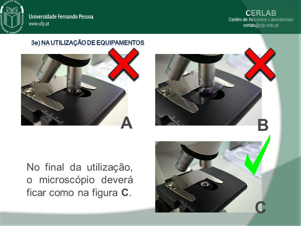 No final da utilização, o microscópio deverá ficar como na figura C. A B C