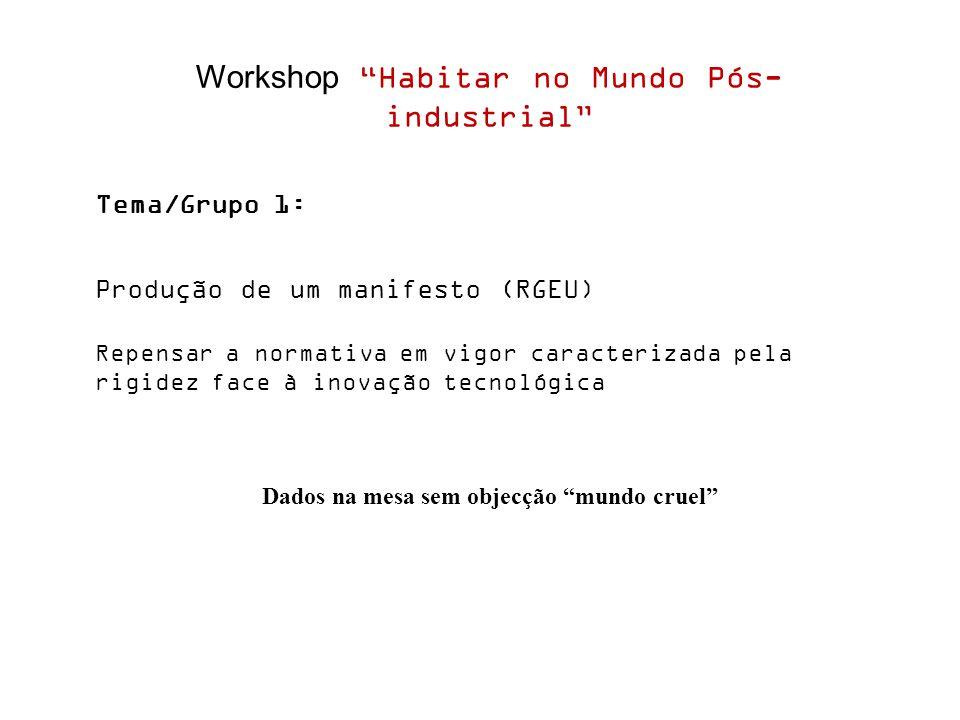Workshop Habitar no Mundo Pós- industrial Tema/Grupo 1: Produção de um manifesto (RGEU) Repensar a normativa em vigor caracterizada pela rigidez face à inovação tecnológica Dados na mesa sem objecção mundo cruel
