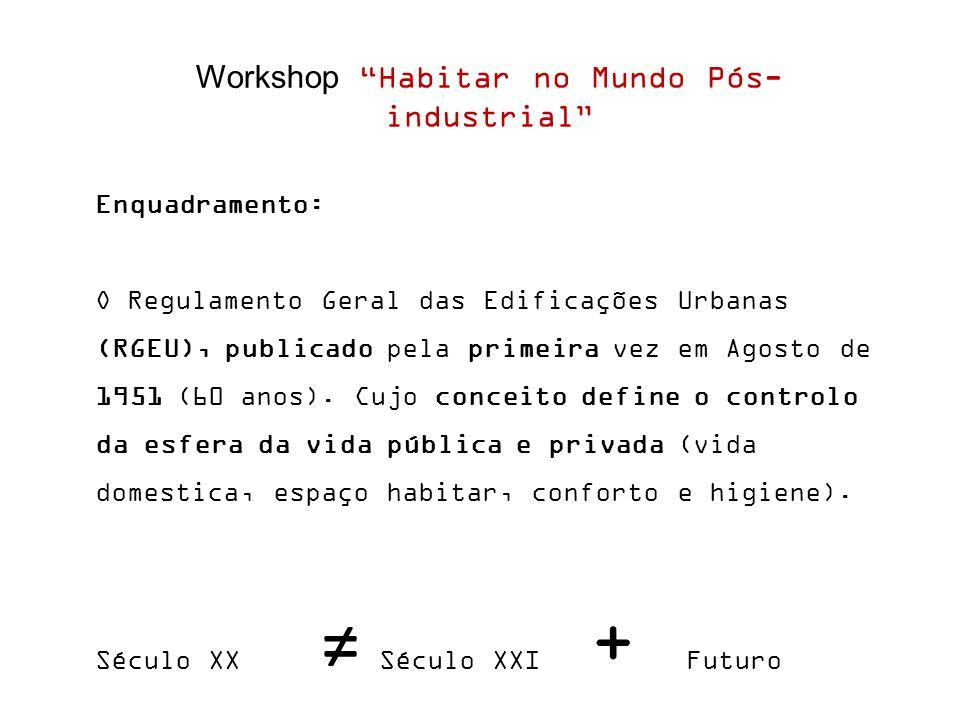 Workshop Habitar no Mundo Pós- industrial Enquadramento: O Regulamento Geral das Edificações Urbanas (RGEU), publicado pela primeira vez em Agosto de 1951 (60 anos).