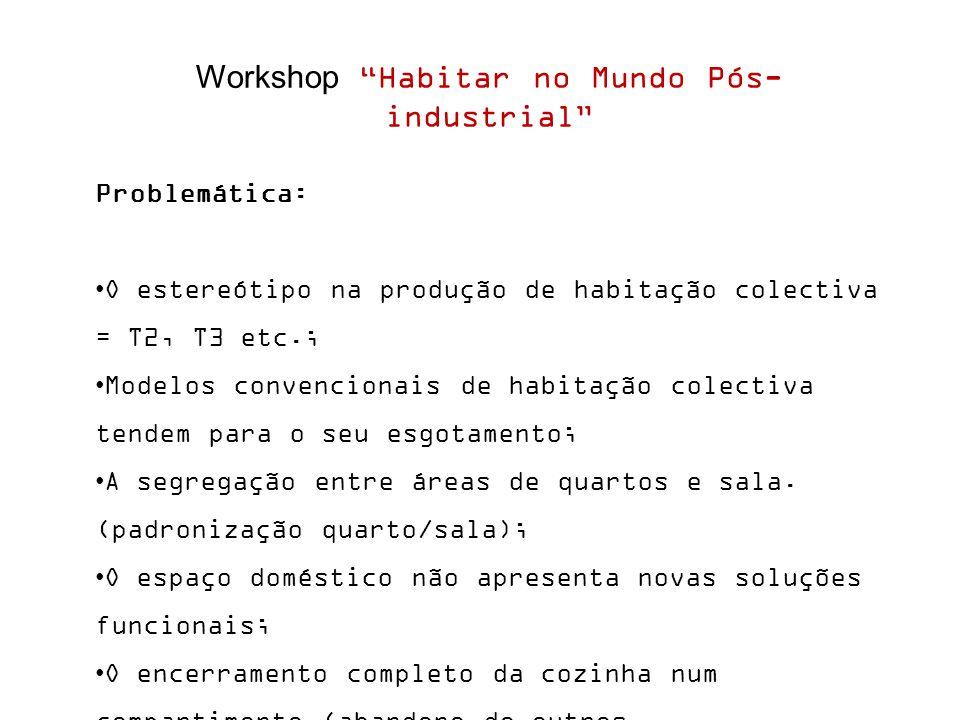 Workshop Habitar no Mundo Pós- industrial Problemática: O estereótipo na produção de habitação colectiva = T2, T3 etc.; Modelos convencionais de habitação colectiva tendem para o seu esgotamento; A segregação entre áreas de quartos e sala.