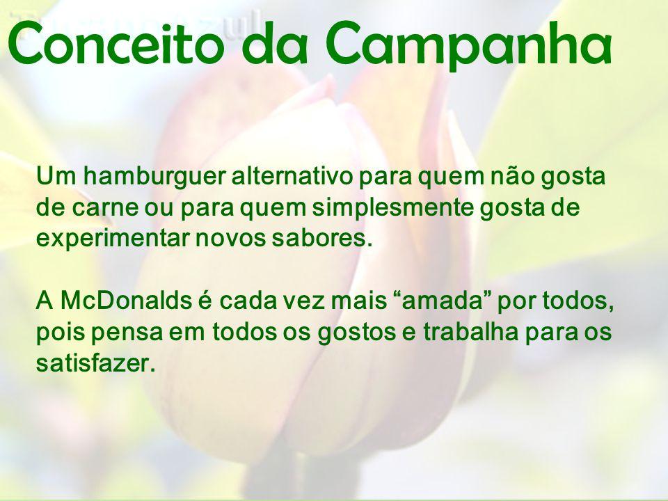 Conceito da Campanha Um hamburguer alternativo para quem não gosta de carne ou para quem simplesmente gosta de experimentar novos sabores. A McDonalds