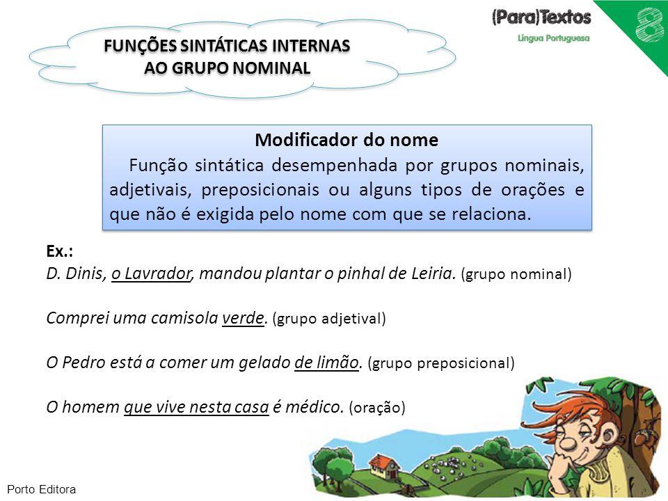 Porto Editora Modificador do nome Função sintática desempenhada por grupos nominais, adjetivais, preposicionais ou alguns tipos de orações e que não é