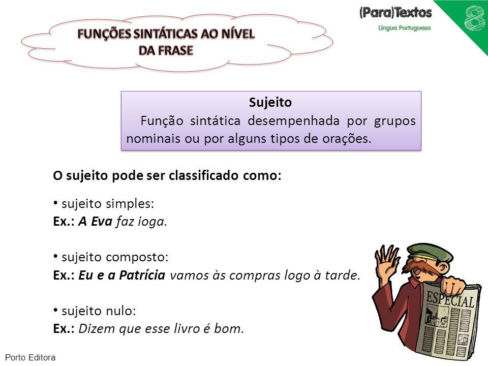 Sujeito Função sintática desempenhada por grupos nominais ou por alguns tipos de orações. Sujeito Função sintática desempenhada por grupos nominais ou