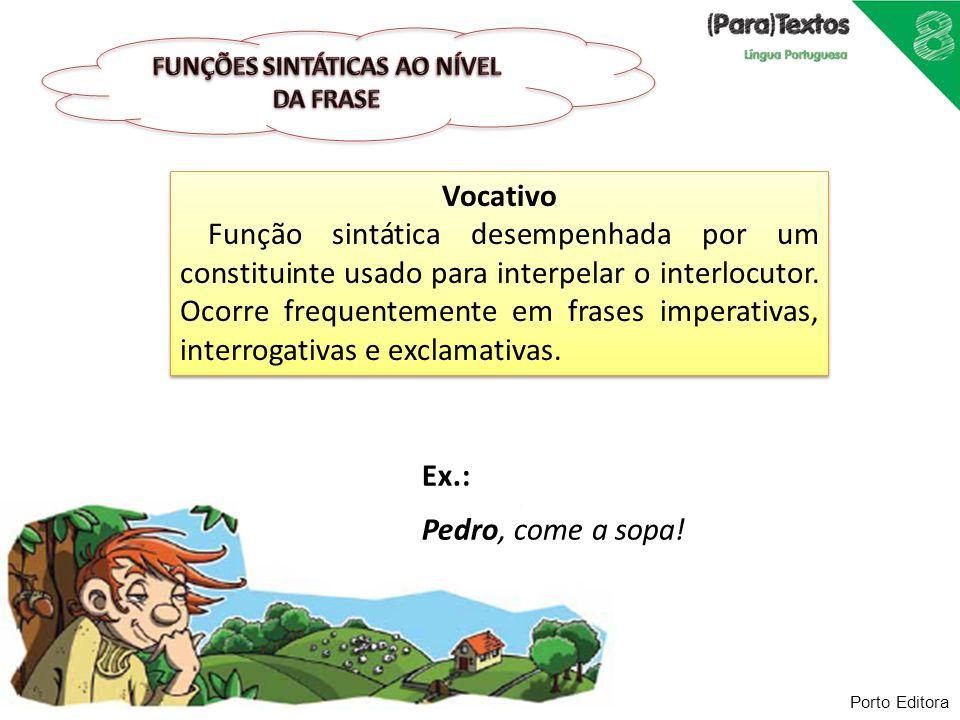 Porto Editora Vocativo Função sintática desempenhada por um constituinte usado para interpelar o interlocutor. Ocorre frequentemente em frases imperat