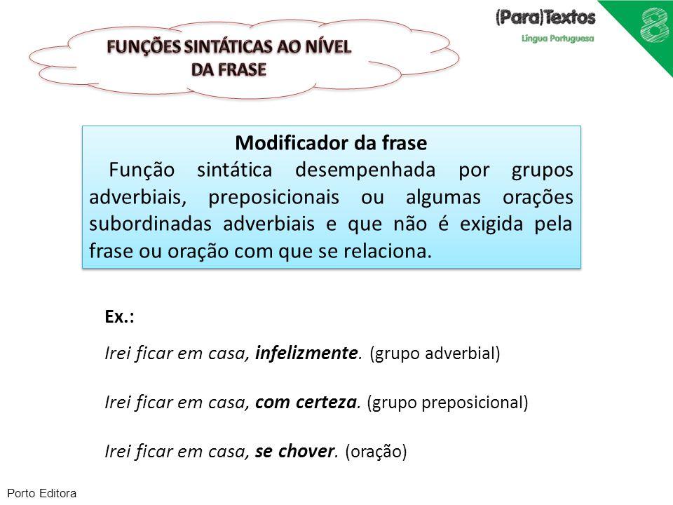 Porto Editora Modificador da frase Função sintática desempenhada por grupos adverbiais, preposicionais ou algumas orações subordinadas adverbiais e qu