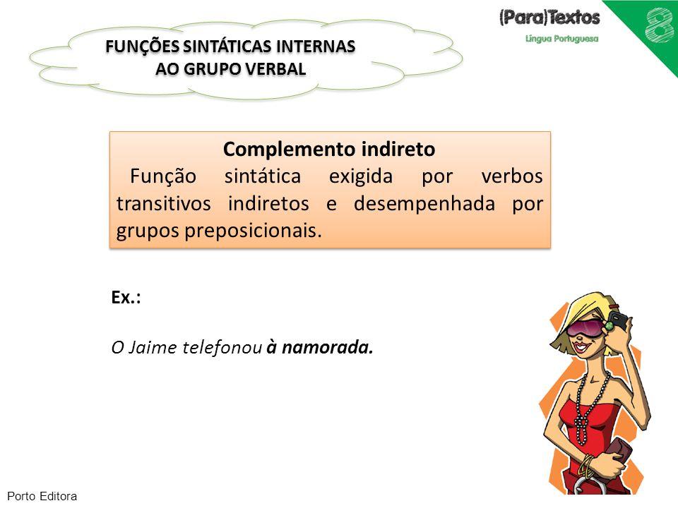 Porto Editora Complemento indireto Função sintática exigida por verbos transitivos indiretos e desempenhada por grupos preposicionais. Complemento ind