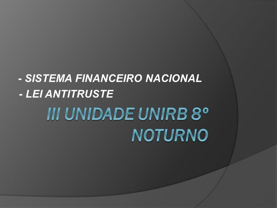 - SISTEMA FINANCEIRO NACIONAL - LEI ANTITRUSTE