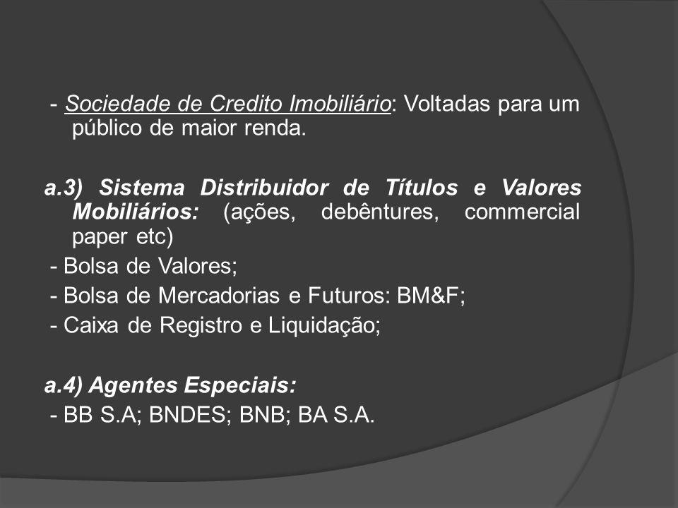 - Sociedade de Credito Imobiliário: Voltadas para um público de maior renda. a.3) Sistema Distribuidor de Títulos e Valores Mobiliários: (ações, debên