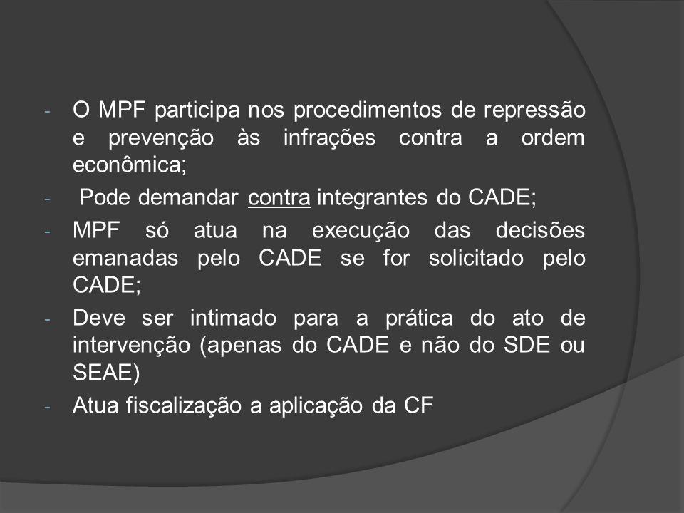 - O MPF participa nos procedimentos de repressão e prevenção às infrações contra a ordem econômica; - Pode demandar contra integrantes do CADE; - MPF
